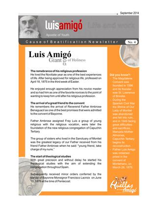 Life and work Luis Amigó. No. 04